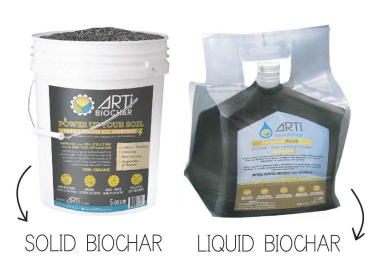solid and liquid arti biochar